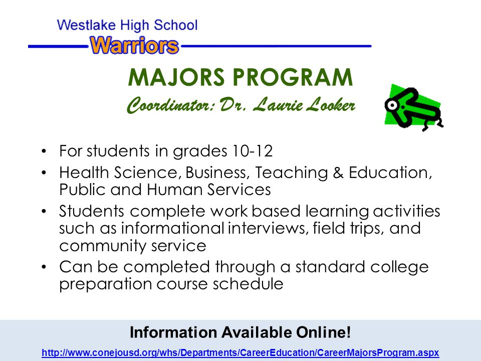 MAJORS PROGRAM Coordinator: Dr.