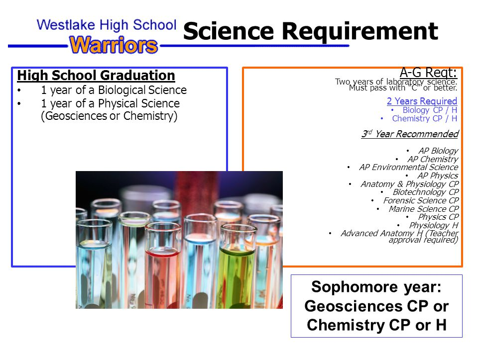 High School Graduation 1 year of a Biological Science 1 year of a Physical Science (Geosciences or Chemistry) A-G Reqt: Two years of laboratory science.