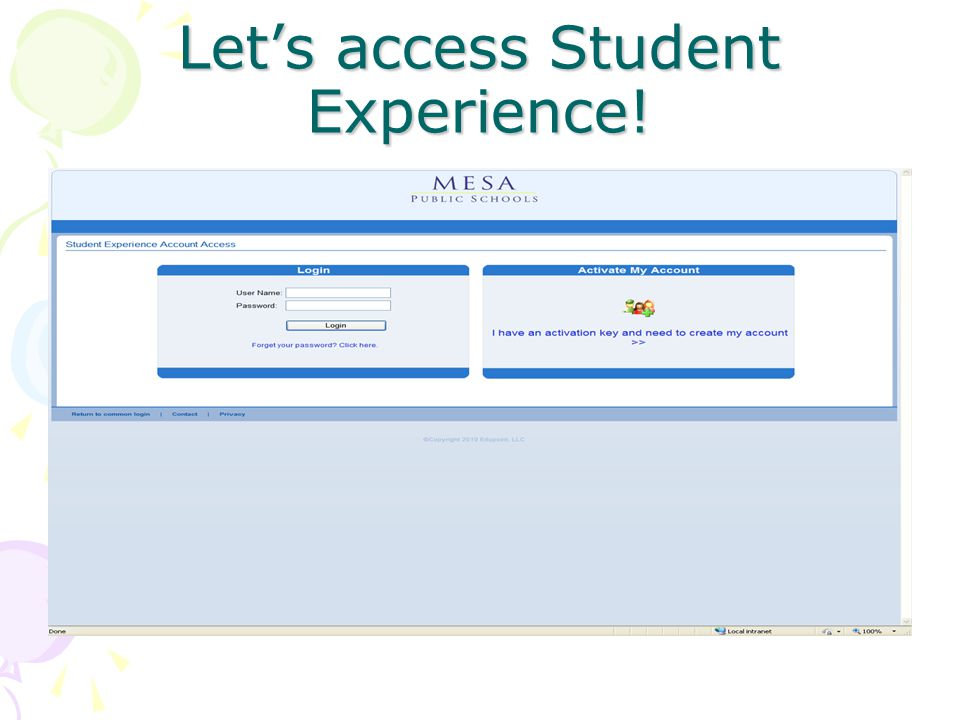 Let's access Student Experience!