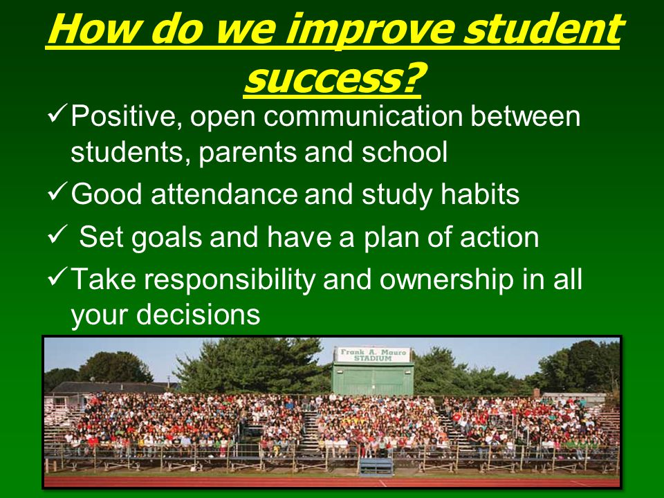 How do we improve student success? Positive, open communication between students, parents and school Good attendance and study habits Set goals and ha