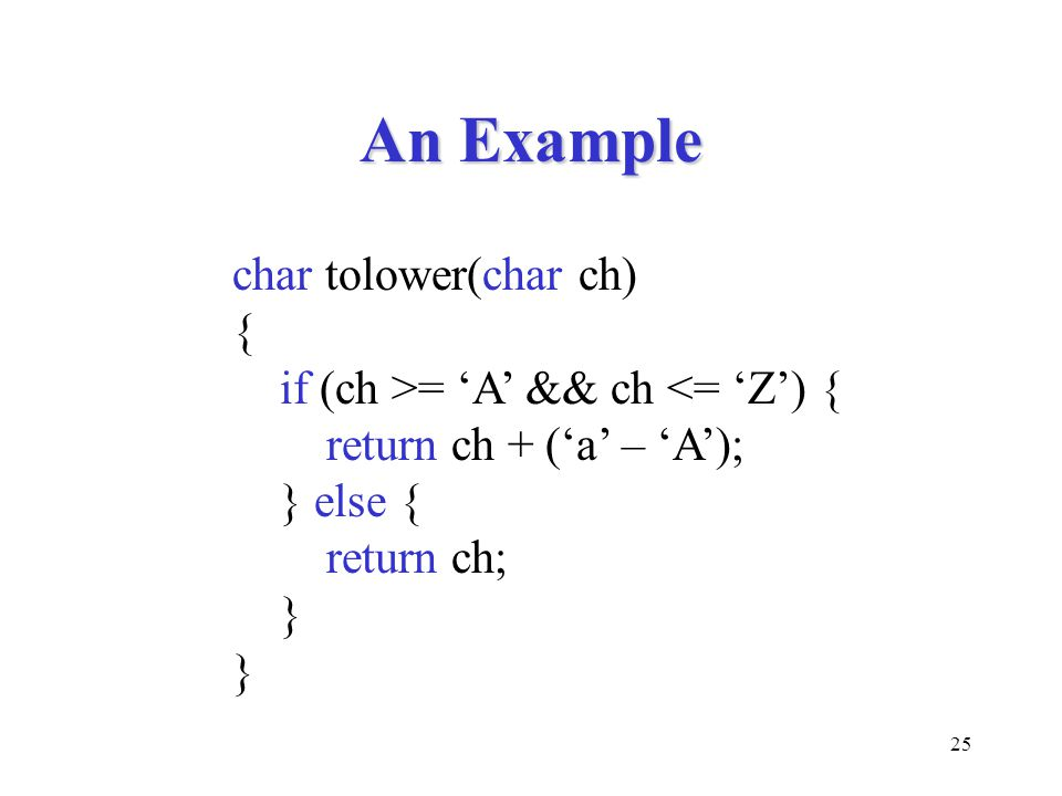 25 An Example char tolower(char ch) { if (ch >= 'A' && ch <= 'Z') { return ch + ('a' – 'A'); } else { return ch; }