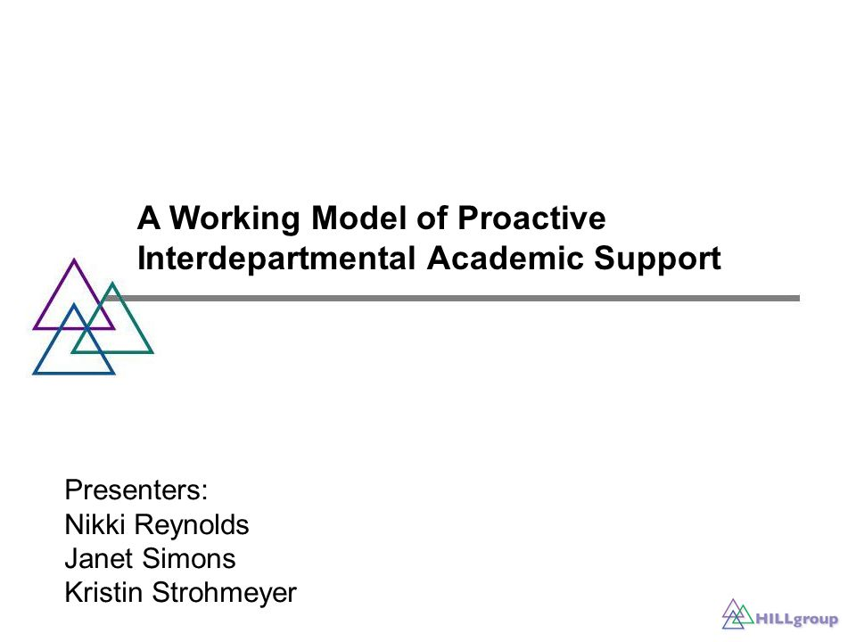 A Working Model of Proactive Interdepartmental Academic Support Presenters: Nikki Reynolds Janet Simons Kristin Strohmeyer