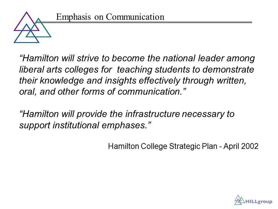 Hamilton will strive to become the national leader among liberal arts colleges for teaching students to demonstrate their knowledge and insights effectively through written, oral, and other forms of communication. Hamilton will provide the infrastructure necessary to support institutional emphases. Hamilton College Strategic Plan - April 2002 Emphasis on Communication