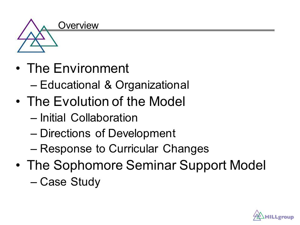 The Environment –Educational & Organizational The Evolution of the Model –Initial Collaboration –Directions of Development –Response to Curricular Changes The Sophomore Seminar Support Model –Case Study Overview