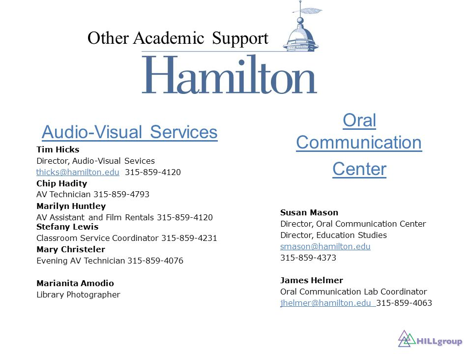 Oral Communication Center Susan Mason Director, Oral Communication Center Director, Education Studies smason@hamilton.edu 315-859-4373 James Helmer Oral Communication Lab Coordinator jhelmer@hamilton.edu jhelmer@hamilton.edu 315-859-4063 Audio-Visual Services Tim Hicks Director, Audio-Visual Sevices thicks@hamilton.eduthicks@hamilton.edu 315-859-4120 Chip Hadity AV Technician 315-859-4793 Marilyn Huntley AV Assistant and Film Rentals 315-859-4120 Stefany Lewis Classroom Service Coordinator 315-859-4231 Mary Christeler Evening AV Technician 315-859-4076 Marianita Amodio Library Photographer Other Academic Support