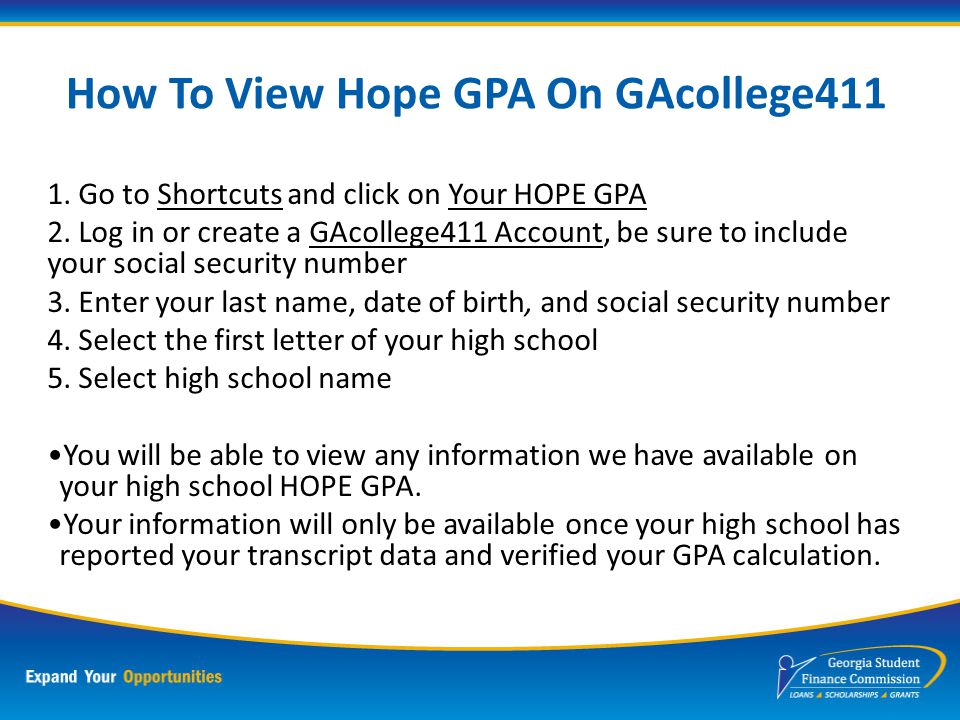 HOPE Grant Program For students enrolling in a certificate or a diploma program Does not consider grade point average Covers tuition, HOPE approved ma