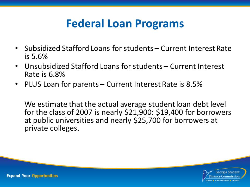 Stafford Loan Program Subsidized Stafford Loans – interest is paid by the government while enrolled (at least half-time) Unsubsidized Stafford Loans – student is responsible for paying the interest on the loan Repayment begins 6 months after graduation or ceasing to be enrolled half-time