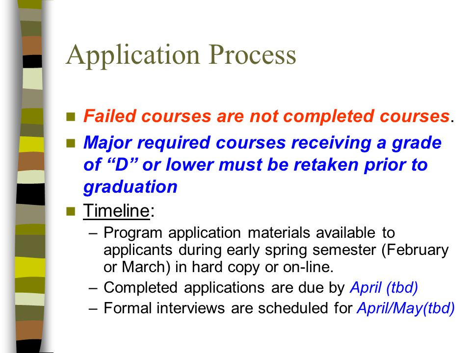 Application Process Failed courses are not completed courses.
