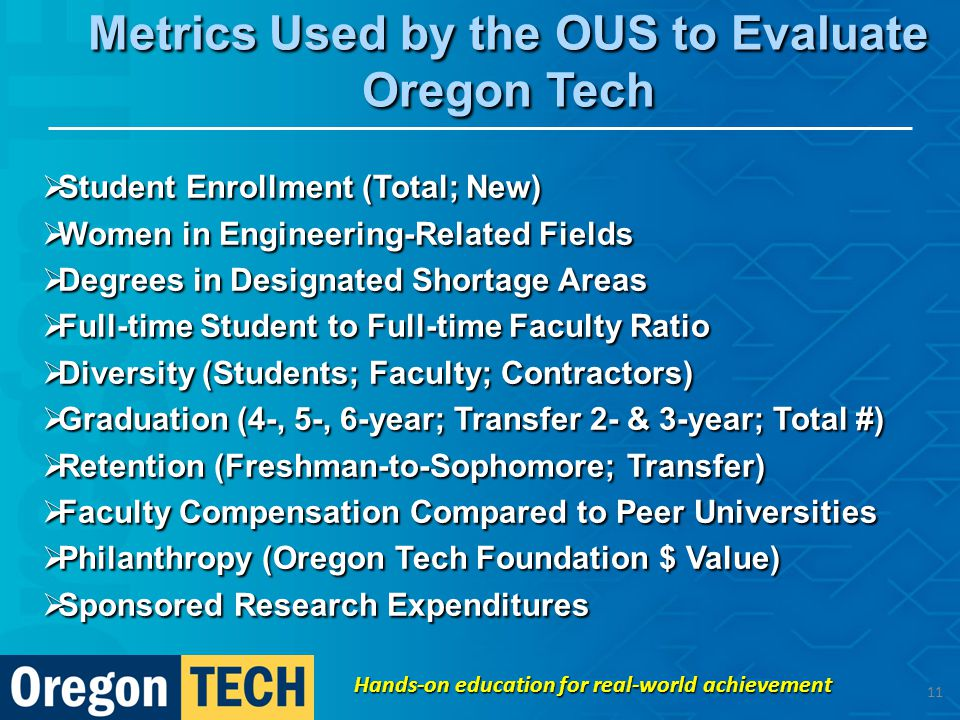 Metrics Used by the OUS to Evaluate Oregon Tech  Student Enrollment (Total; New)  Women in Engineering-Related Fields  Degrees in Designated Shortage Areas  Full-time Student to Full-time Faculty Ratio  Diversity (Students; Faculty; Contractors)  Graduation (4-, 5-, 6-year; Transfer 2- & 3-year; Total #)  Retention (Freshman-to-Sophomore; Transfer)  Faculty Compensation Compared to Peer Universities  Philanthropy (Oregon Tech Foundation $ Value)  Sponsored Research Expenditures Hands-on education for real-world achievement 11