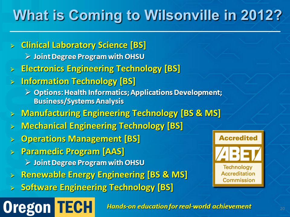 What is Coming to Wilsonville in 2012.