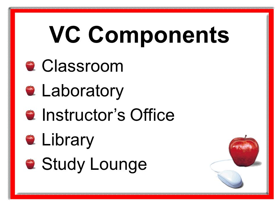 VC Components Classroom Laboratory Instructor's Office Library Study Lounge