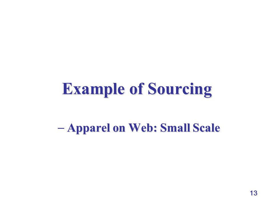 13 Example of Sourcing Apparel on Web: Small Scale  Apparel on Web: Small Scale