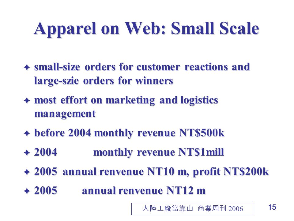 15 Apparel on Web: Small Scale  small-size orders for customer reactions and large-szie orders for winners  most effort on marketing and logistics management  before 2004 monthly revenue NT$500k  2004 monthly revenue NT$1mill  2005 annual renvenue NT10 m, profit NT$200k  2005annual renvenue NT12 m 大陸工廠當靠山 商業周刊 2006
