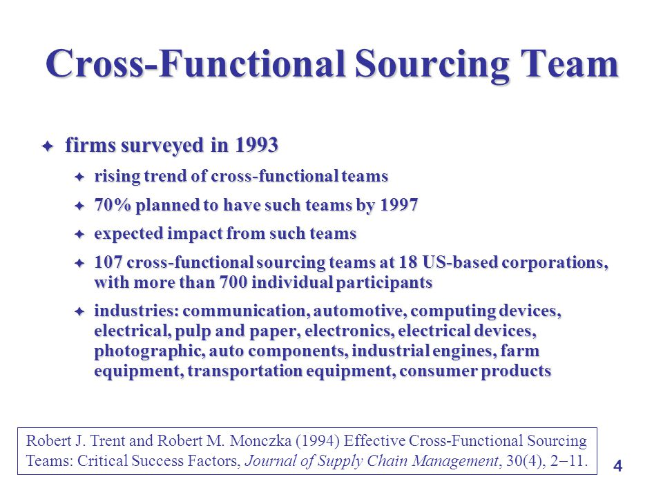 4 Cross-Functional Sourcing Team  firms surveyed in 1993  rising trend of cross-functional teams  70% planned to have such teams by 1997  expected impact from such teams  107 cross-functional sourcing teams at 18 US-based corporations, with more than 700 individual participants  industries: communication, automotive, computing devices, electrical, pulp and paper, electronics, electrical devices, photographic, auto components, industrial engines, farm equipment, transportation equipment, consumer products Robert J.