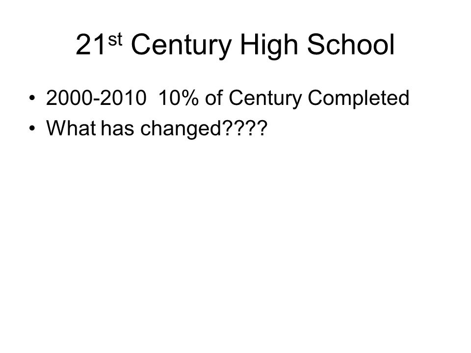 2000-2010 10% of Century Completed What has changed????