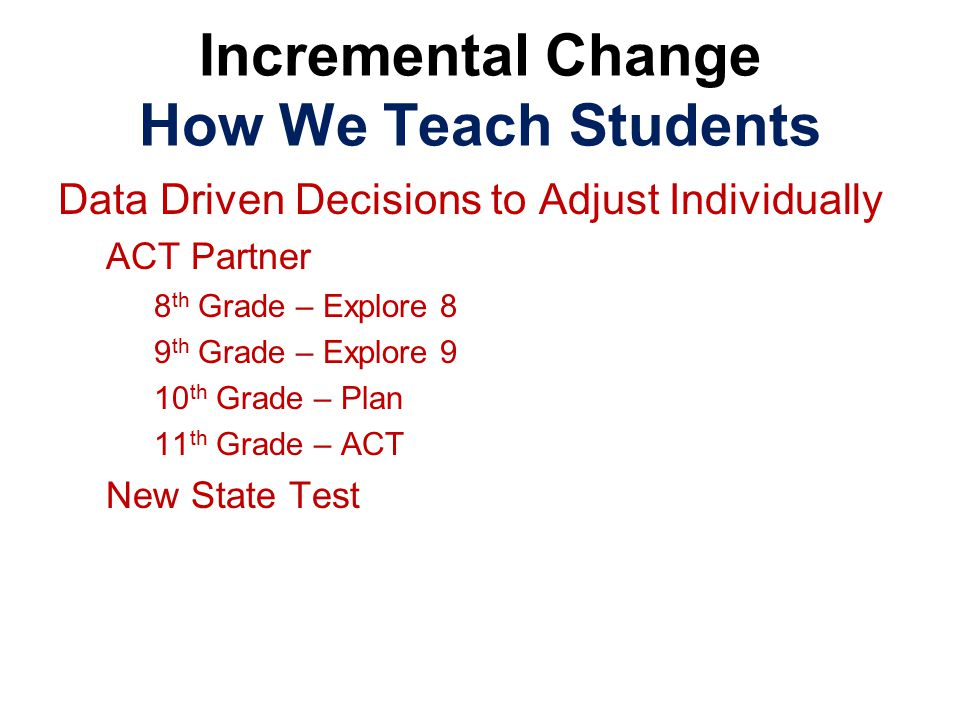 Data Driven Decisions to Adjust Individually ACT Partner 8 th Grade – Explore 8 9 th Grade – Explore 9 10 th Grade – Plan 11 th Grade – ACT New State