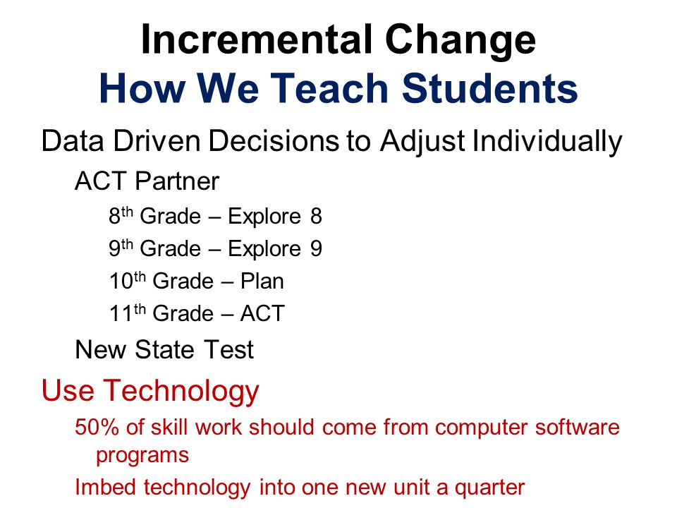 Incremental Change How We Teach Students Data Driven Decisions to Adjust Individually ACT Partner 8 th Grade – Explore 8 9 th Grade – Explore 9 10 th Grade – Plan 11 th Grade – ACT New State Test Use Technology 50% of skill work should come from computer software programs Imbed technology into one new unit a quarter