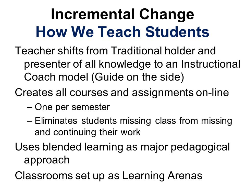 Incremental Change How We Teach Students Teacher shifts from Traditional holder and presenter of all knowledge to an Instructional Coach model (Guide on the side) Creates all courses and assignments on-line –One per semester –Eliminates students missing class from missing and continuing their work Uses blended learning as major pedagogical approach Classrooms set up as Learning Arenas
