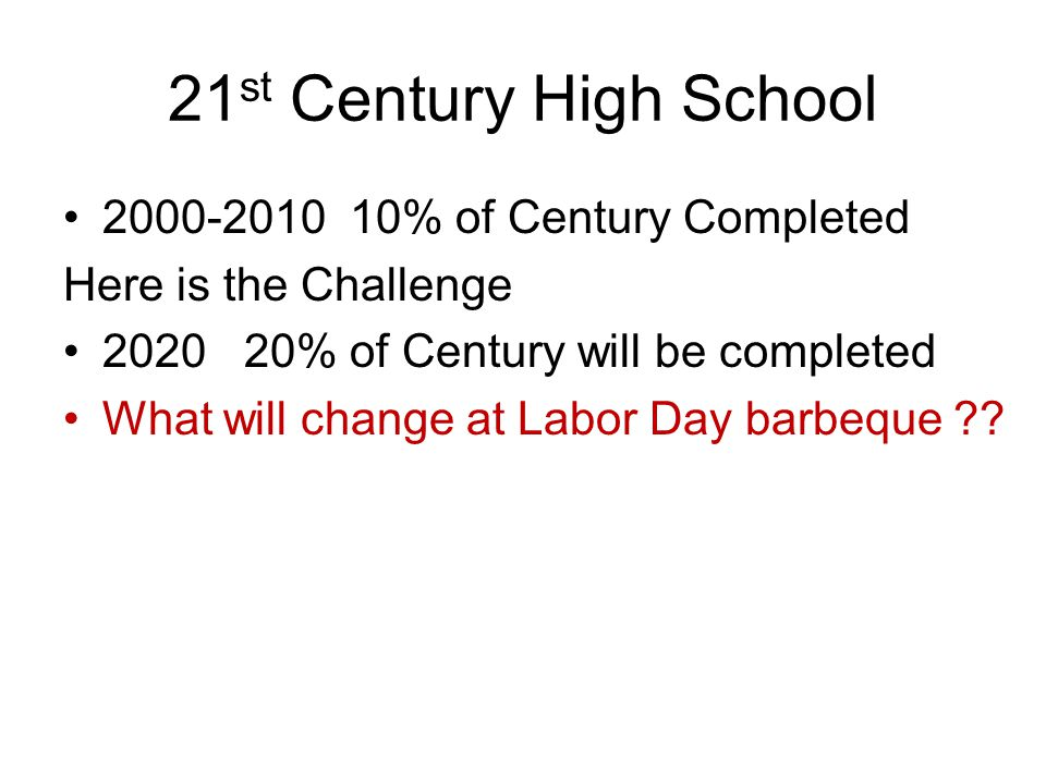 21 st Century High School 2000-2010 10% of Century Completed Here is the Challenge 2020 20% of Century will be completed What will change at Labor Day barbeque