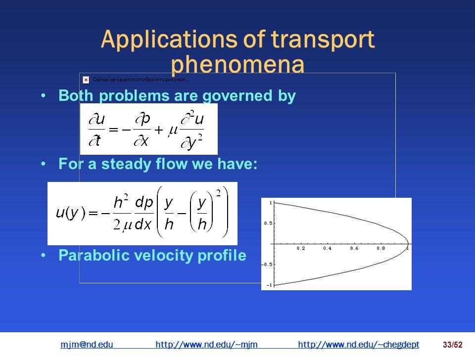 mjm@nd.eduhttp://www.nd.edu/~mjmhttp://www.nd.edu/~chegdepthttp://www.nd.edu/~mjmhttp://www.nd.edu/~chegdept 32/52 Applications of transport phenomena