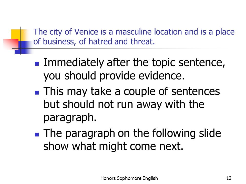 Honors Sophomore English12 The city of Venice is a masculine location and is a place of business, of hatred and threat. Immediately after the topic se