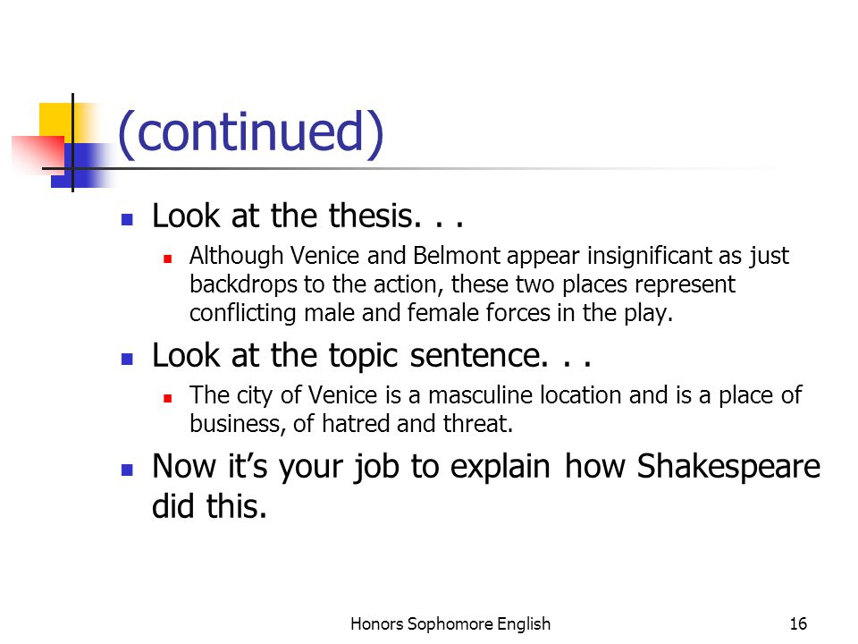 Honors Sophomore English16 (continued) Look at the thesis... Although Venice and Belmont appear insignificant as just backdrops to the action, these t