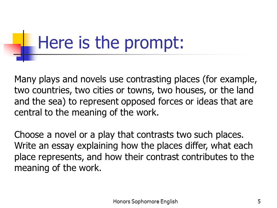 Honors Sophomore English5 Here is the prompt: Many plays and novels use contrasting places (for example, two countries, two cities or towns, two house
