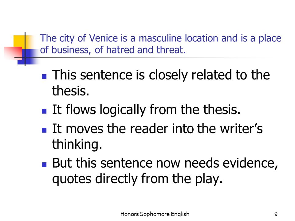 Honors Sophomore English9 The city of Venice is a masculine location and is a place of business, of hatred and threat. This sentence is closely relate