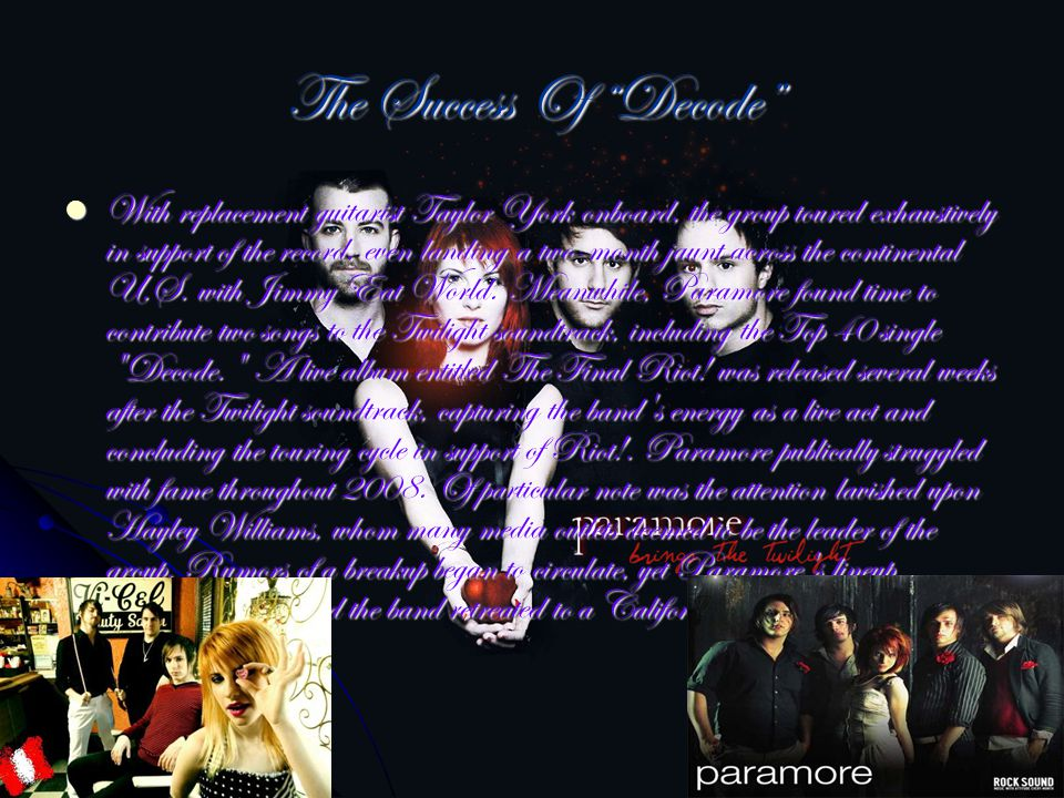 Album Brand New Eyes Following a popular summer tour with No Doubt, the group issued Brand New Eyes, a pensive record that featured some of Paramore s strongest songwriting to date.