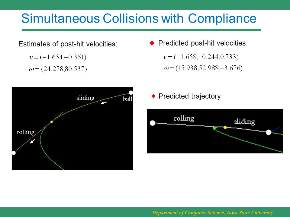 Department of Computer Science, Iowa State University Simultaneous Collisions with Compliance Estimates of post-hit velocities:  Predicted trajectory Predicted post-hit velocities: 
