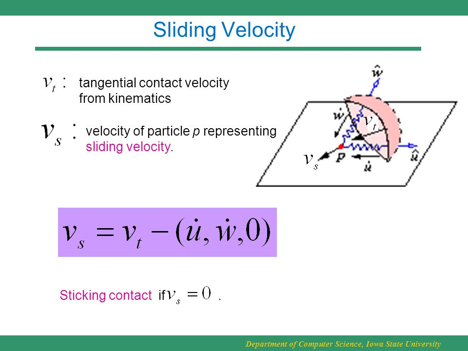 Department of Computer Science, Iowa State University Sliding Velocity tangential contact velocity from kinematics velocity of particle p representing sliding velocity.