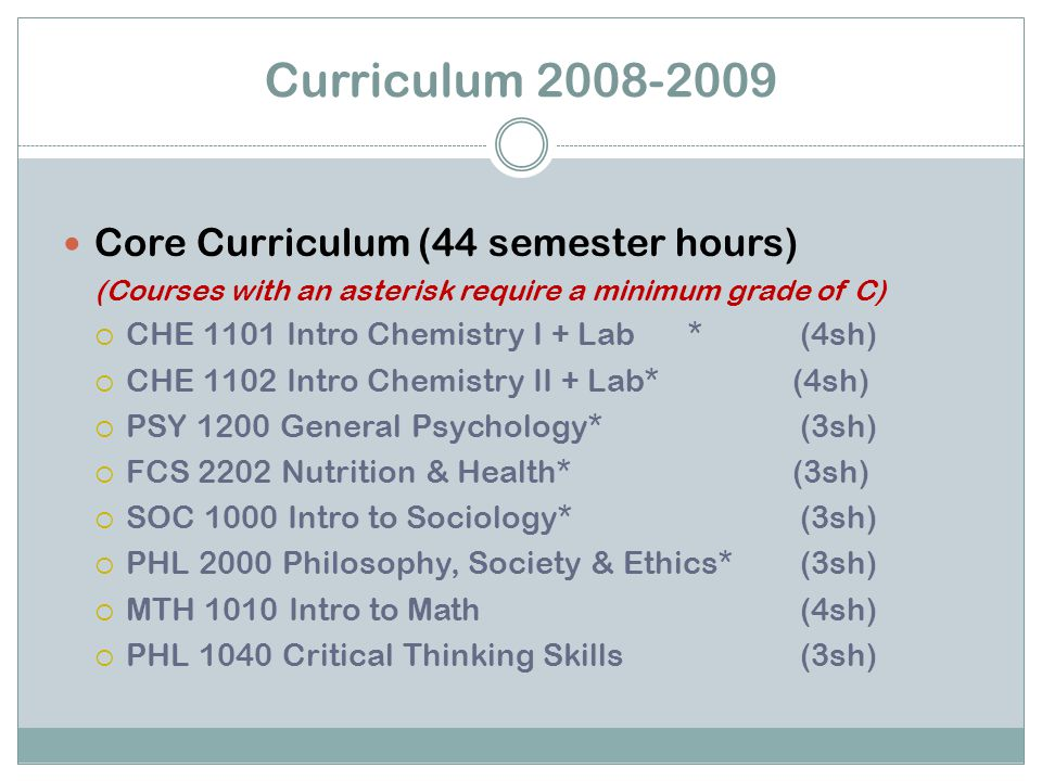 Core Curriculum (44 semester hours) (Courses with an asterisk require a minimum grade of C)  CHE 1101 Intro Chemistry I + Lab* (4sh)  CHE 1102 Intro Chemistry II + Lab* (4sh)  PSY 1200 General Psychology* (3sh)  FCS 2202 Nutrition & Health* (3sh)  SOC 1000 Intro to Sociology* (3sh)  PHL 2000 Philosophy, Society & Ethics* (3sh)  MTH 1010 Intro to Math (4sh)  PHL 1040 Critical Thinking Skills (3sh) Curriculum 2008-2009