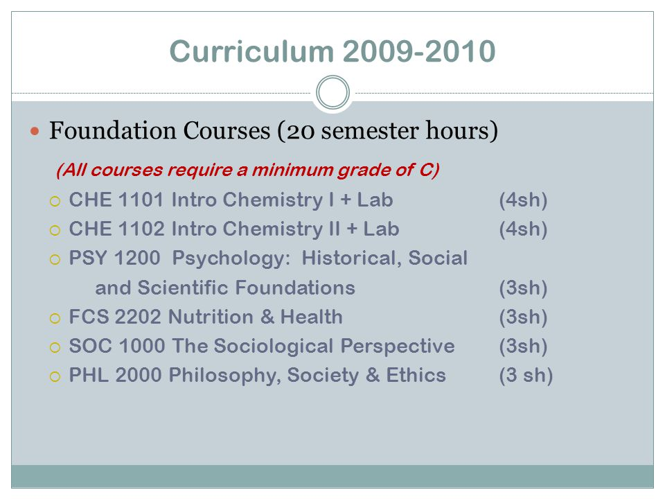 Curriculum 2009-2010 Major Requirements (77 semester hours) (A grade of C or above is required for each course in the major)  STT 1810 Basic Statistics (3sh)  BIO 3531 Anatomy & Physiology I(4sh)  BIO 3532 Anatomy & Physiology II(4sh)  BIO 3308 Microbiology(4sh)  PSY 2301 Psychology of Human (3sh) Growth & Development  CS 1410 Introduction to Computer (2sh) Applications