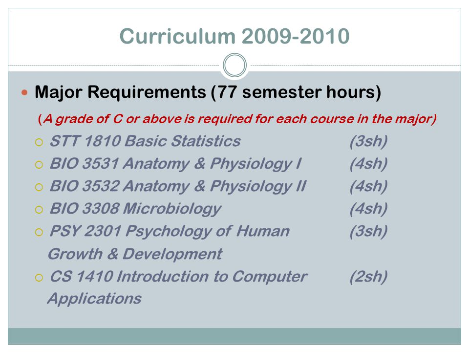 Curriculum 2009-2010 Major Requirements (77 semester hours) (A grade of C or above is required for each course in the major)  STT 1810 Basic Statistics (3sh)  BIO 3531 Anatomy & Physiology I(4sh)  BIO 3532 Anatomy & Physiology II(4sh)  BIO 3308 Microbiology(4sh)  PSY 2301 Psychology of Human (3sh) Growth & Development  CS 1410 Introduction to Computer (2sh) Applications