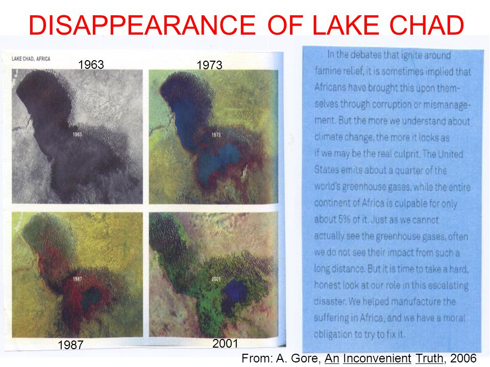 DISAPPEARANCE OF LAKE CHAD 1963 1973 1987 2001 From: A. Gore, An Inconvenient Truth, 2006