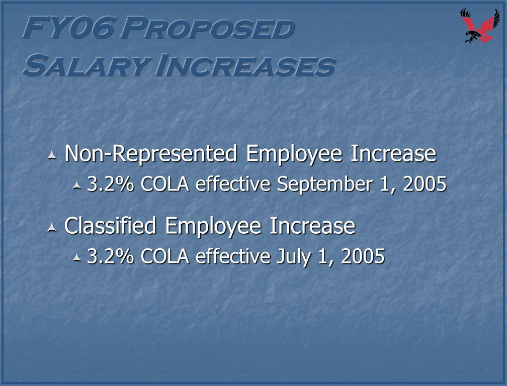  Non-Represented Employee Increase  3.2% COLA effective September 1, 2005  Classified Employee Increase  3.2% COLA effective July 1, 2005
