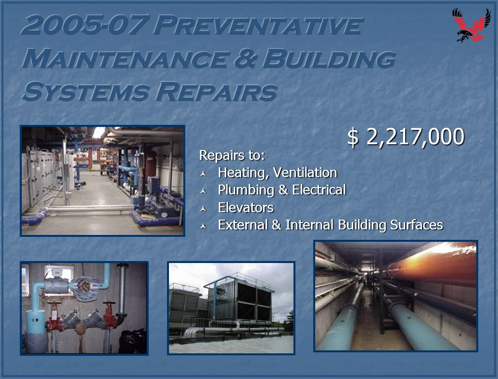 Repairs to:  Heating, Ventilation  Plumbing & Electrical  Elevators  External & Internal Building Surfaces $ 2,217,000
