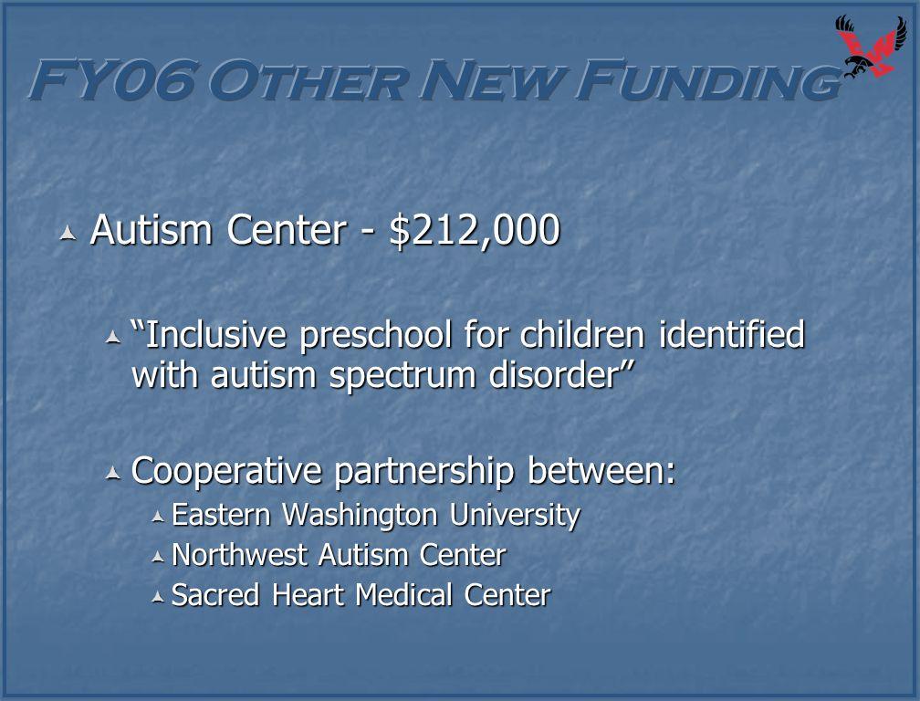 " Autism Center - $212,000  ""Inclusive preschool for children identified with autism spectrum disorder""  Cooperative partnership between:  Eastern"