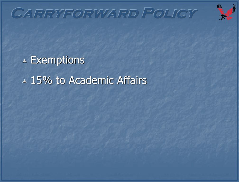  Exemptions  15% to Academic Affairs
