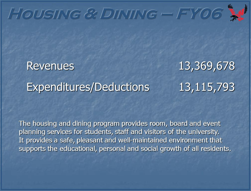 The housing and dining program provides room, board and event planning services for students, staff and visitors of the university. It provides a safe