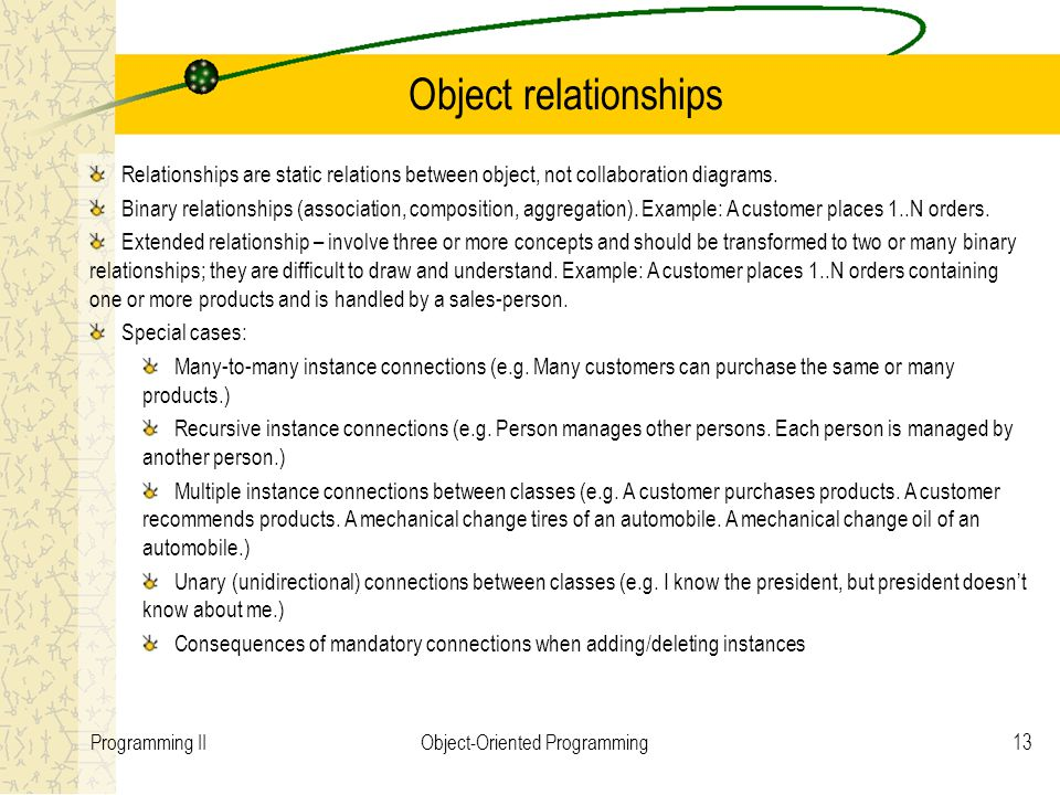 13Programming IIObject-Oriented Programming Object relationships Relationships are static relations between object, not collaboration diagrams. Binary