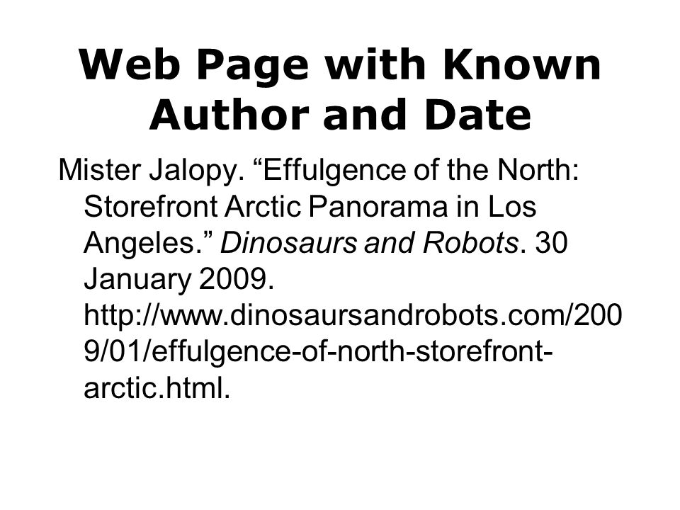 Web Page with Known Author and Date Mister Jalopy.