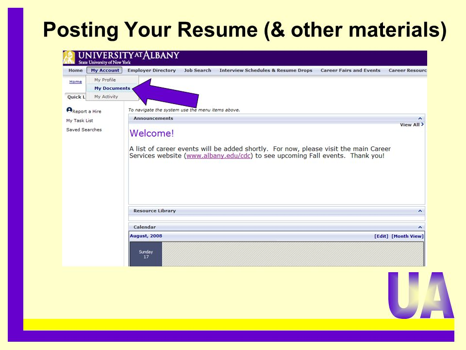 Posting Your Resume (& other materials).........................................