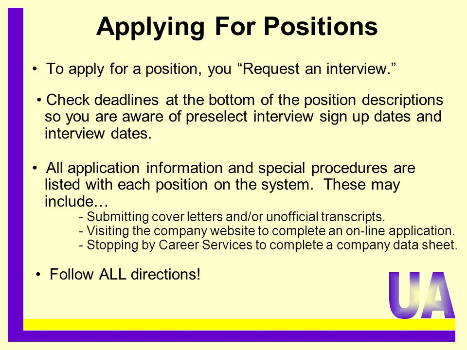 Applying For Positions.........................................