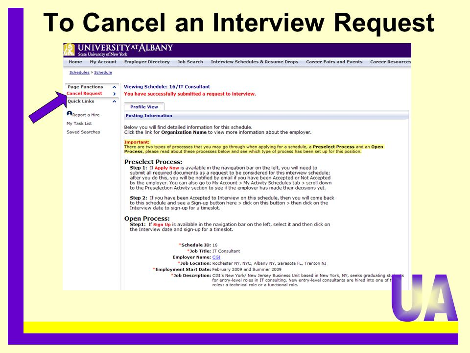 To Cancel an Interview Request.........................................