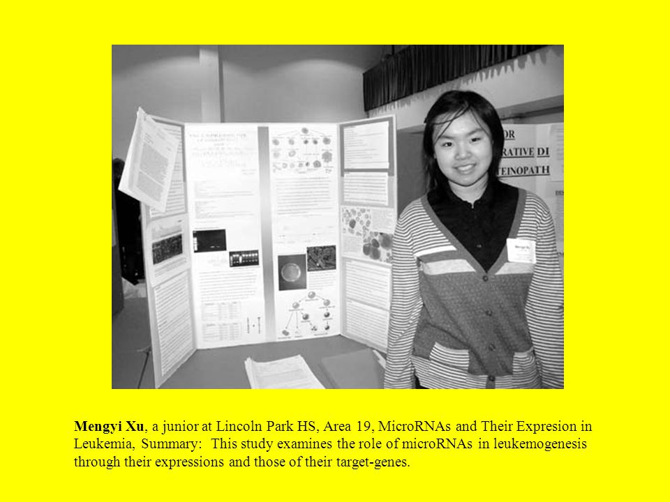 Mengyi Xu, a junior at Lincoln Park HS, Area 19, MicroRNAs and Their Expresion in Leukemia, Summary: This study examines the role of microRNAs in leukemogenesis through their expressions and those of their target-genes.