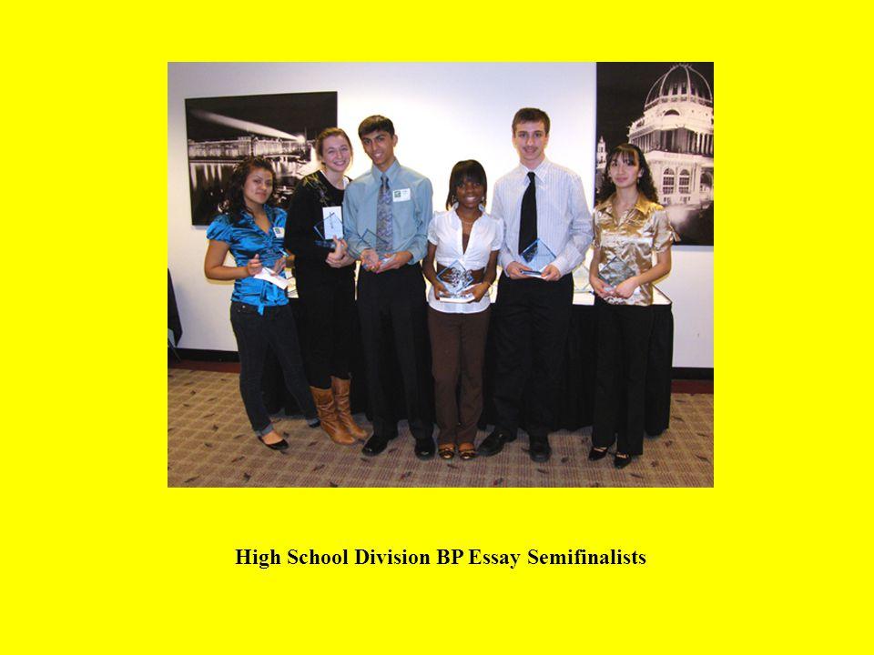 High School Division BP Essay Semifinalists