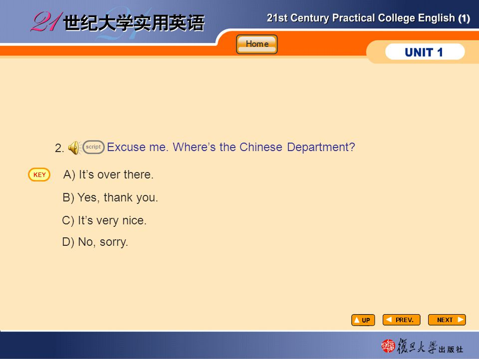 (1) Excuse me.Where's the Chinese Department. 2. A) It's over there.