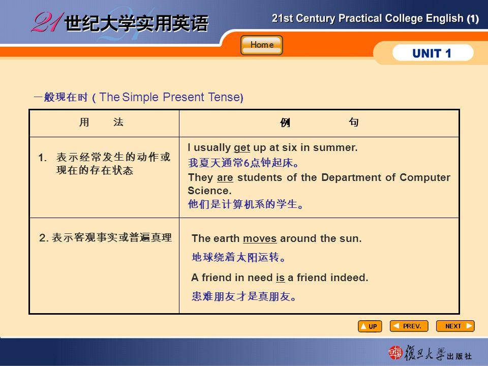 (1) GR4 例 句 一般现在时( The Simple Present Tense ) 用 法 1.