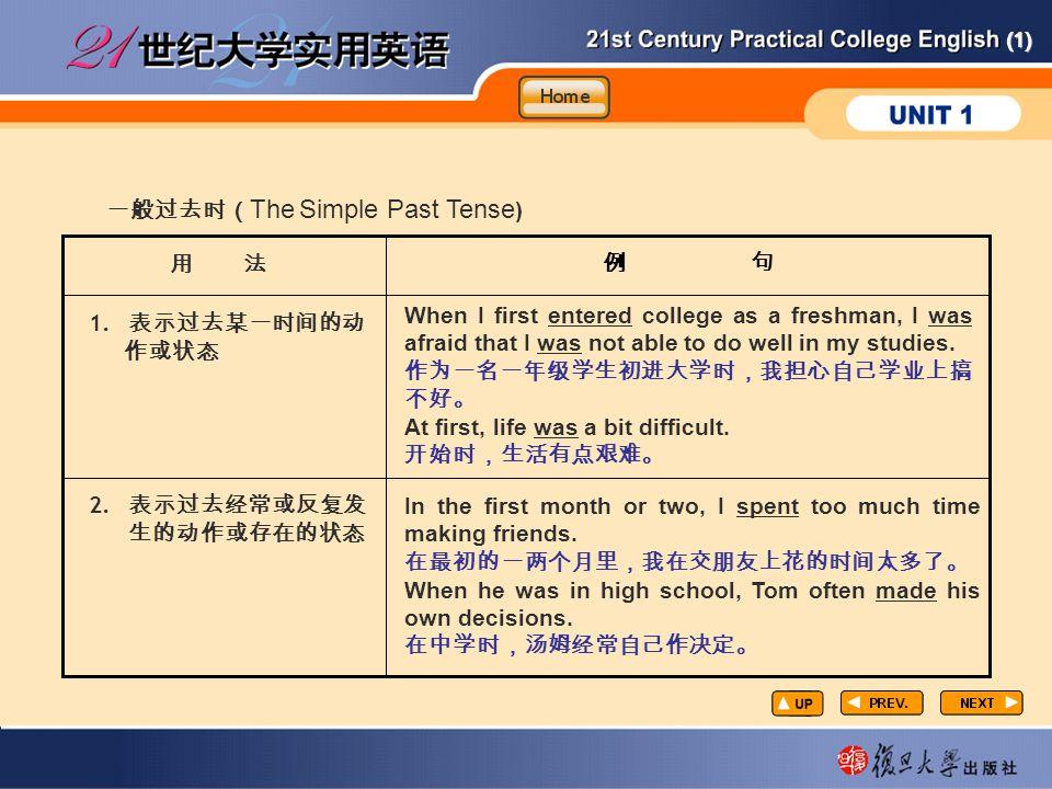 (1) GR6 例 句 一般过去时( The Simple Past Tense ) 用 法 1.